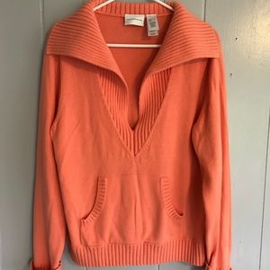 Liz Clairborne Coral Woman's Sweater V Neck Knit L